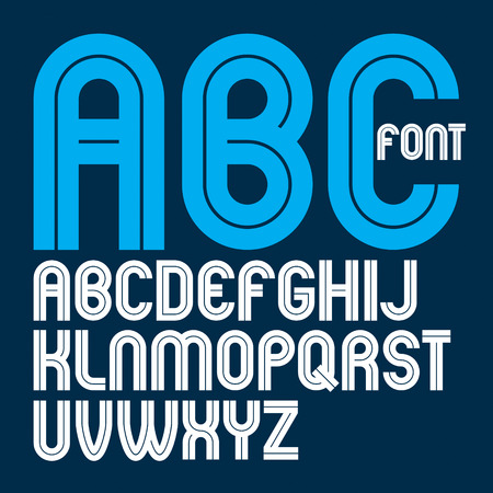 Vector capital bold English alphabet letters made with white lines, best for use in corporate logotype design