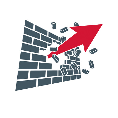 Vektorpfeil, der nach oben zeigt. Geschäftserfolg konzeptionelles Logo lokalisiert auf weißem Hintergrund. Unternehmensgründungstrend.
