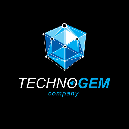 Technology corporate symbol. 3D polygonal geometric faceted object, vector abstract design element. Illustration