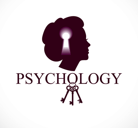 Psychology and mental health concept, created with woman head profile and keyhole, psychoanalysis as a key to human nature, individuality and psychic problems. Vector logo or icon design. Illustration