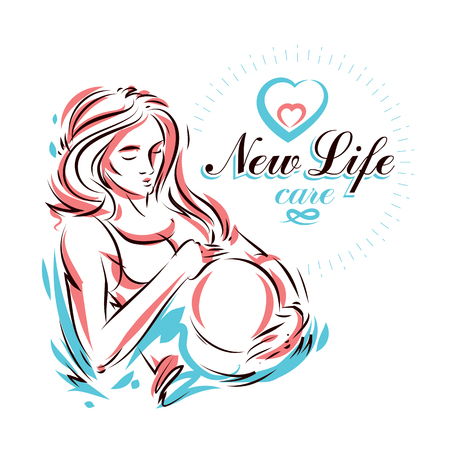 Pregnant woman elegant body silhouette, sketchy vector illustration. Mother Day conceptual flyer 矢量图像