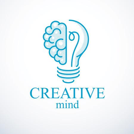 Concetto di cervello creativo, logo vettoriale di creazione intelligente. Lampadina con metà del cervello anatomico umano. Icona di idea brillante mente, pensiero e brainstorming.