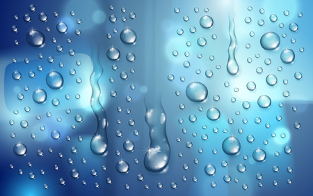 Water rain drops or condensation over blurred background beyond the window realistic transparent 3d vector illustration, easy to put over any background or use droplets separately.