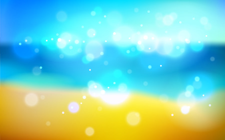 Blurred sea shore nature background defocused beyond the window, vector illustration out of focus beautiful beach illustration.