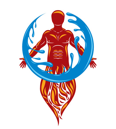 Vector illustration of human being standing, mythic ancient god. Prometheus surrounded by a water ball, water and fire diversity and harmony. Stock Vector - 125928447