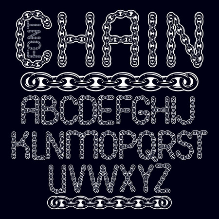 Vector type font, script from a to z. Capital decorative letters created using connected chain link.