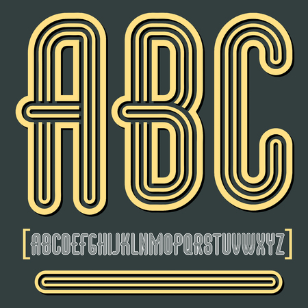 Vector retro vintage capital English alphabet letters, abc collection. Funky tall font, typescript can be used in art creation. Created using geometric triple stripes.