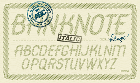 Vector font from a to z created using guilloche ornate, decorate waves. For use as bank notes or bonds design. Stock fotó - 121532605