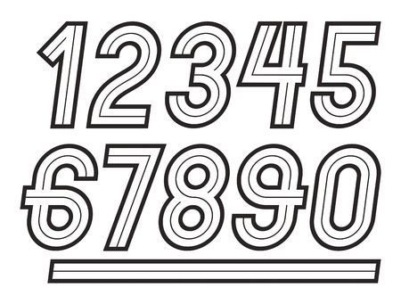 Vector numbers, modern numerals set, can be used in retro poster design