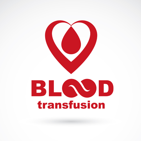 Blood transfusion inscription isolated on white and made using vector red blood drops, heart shape and limitless symbol. Take a concern about human life and health, blood donation logo.