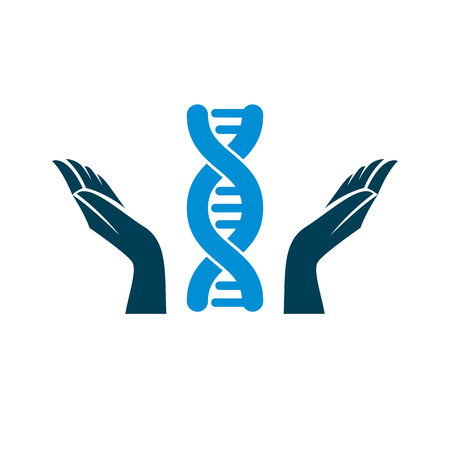Caring hands hold a model of human DNA. Bioengineering as the direction of genetics, abstract vector scientific symbol best for use in education, science and humanity evolution research. 일러스트