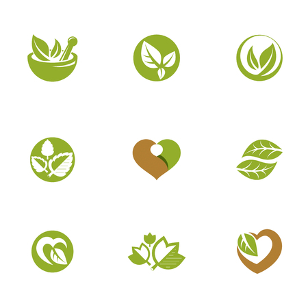 Phytotherapy metaphor, vector graphic emblems collection. Vegetarian lifestyle conceptual illustrations. Ilustração