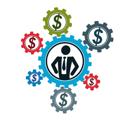Successful Businessman creative logo, vector conceptual symbol isolated on white background. Special and unique sign. Gears and cogs system.