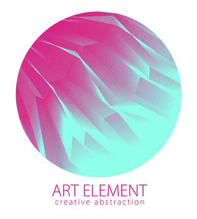 Round shape art and design element of beautiful linear surface texture. Vector abstract 3d perspective background for layouts, posters, banners, print and web. Trendy and cool.