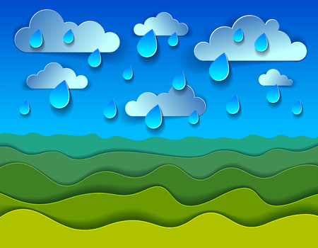 Scenic nature landscape of green grass meadow under rain drops cloudy rainy sky cartoon paper cut modern style vector illustration. 矢量图像