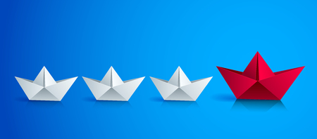 Swimming origami ship leading the team group of smaller ships, business leadership concept, vector modern style 3d realistic illustration.