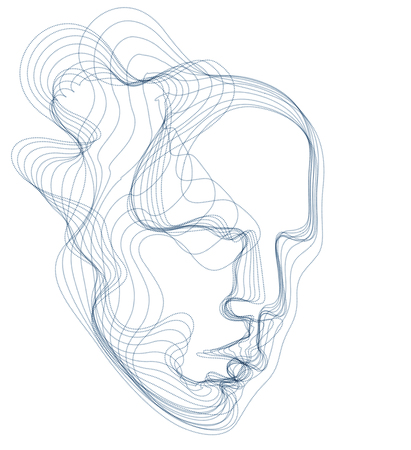 Digital soul of machine, Artificial Intelligence software visualization of human head made of dotted particles flowing wave lines array. Technical era period of evolution. Illustration