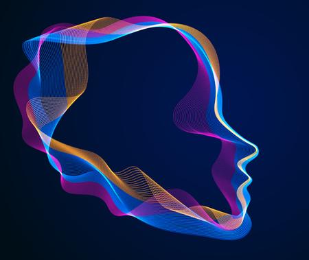 Esprit du temps électronique numérique, illustration vectorielle d'intelligence artificielle de la tête humaine faite de lignes d'ondes de particules en pointillés, flux de particules, âme technologique de la machine.