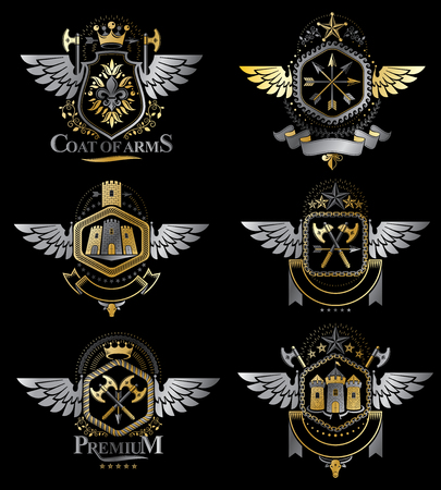 Vintage heraldry design templates, vector emblems created with bird wings, crowns, stars, armory and animal illustrations. Collection of vintage style symbols. Illusztráció