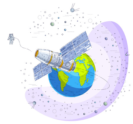 Space station flying orbital flight around earth, spacecraft spaceship  with solar panels, artificial satellite, surrounded by stars and other elements. Thin line 3d vector illustration.