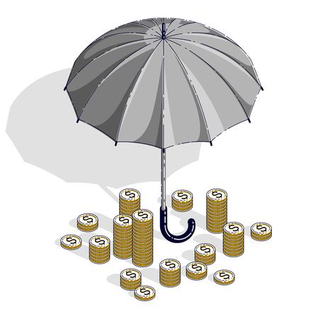 Insurance concept, umbrella with cash money dollar stack and coins isolated on white background. Vector 3d isometric business and finance illustration, thin line design.