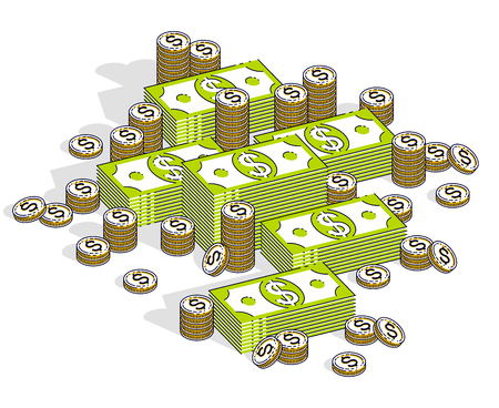 Cash money dollar stacks and coins cents piles isolated on white background. Vector 3d isometric business and finance illustration, thin line design.