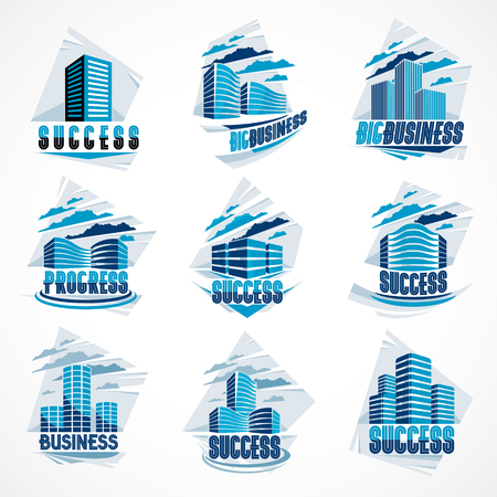 Office buildings set, modern architecture vector illustrations collection. Real estate realty business center designs. 3D futuristic facades in big city. Can be used as a logos or icons.