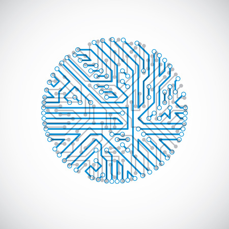 Technology communication cybernetic element. Vector abstract illustration of circuit board in the shape of circle. Vector Illustration
