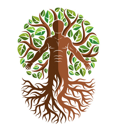 Vector athletic man created as continuation of tree with strong roots and organic green leaves. Green tourism, go green idea illustration.