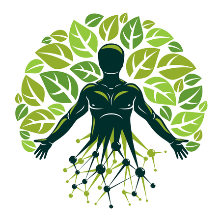 Vector individual, mystic character made using molecular connections and eco tree leaves. Recycling and reuse concept, renewable resources idea.
