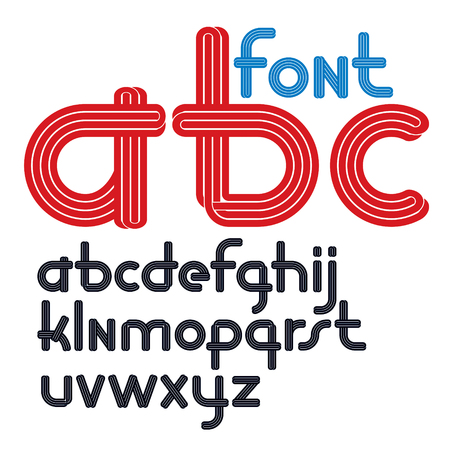 Set of vector rounded lower case funky alphabet letters isolated with parallel lines, can be used for logo creation in entertainment business. Ilustração