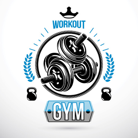 Vector sport equipment, dumbbell with disc weight and kettle bell. Weight-lifting association emblem