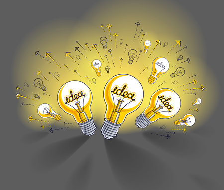 Shining light bulb and set of lightbulb icons, ideas creative concept, brainstorm allegory, vector illustration. Çizim
