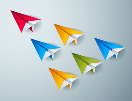 Leadership concept visualized with origami folded plane toys one of them is flying in the front and leading the team group, vector modern style 3d illustration. Vetores