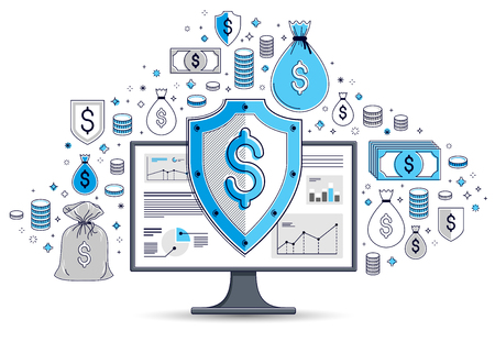Shield over computer monitor and dollar set of icons, internet financial security concept, online finance protection, vector flat thin line design, elements can be used separately. Illustration