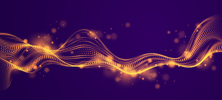 3d particles mesh array, sound wave flowing over dark. Round shining points vector effect illustration. Blended mesh, future technology relaxing wallpaper. Illustration