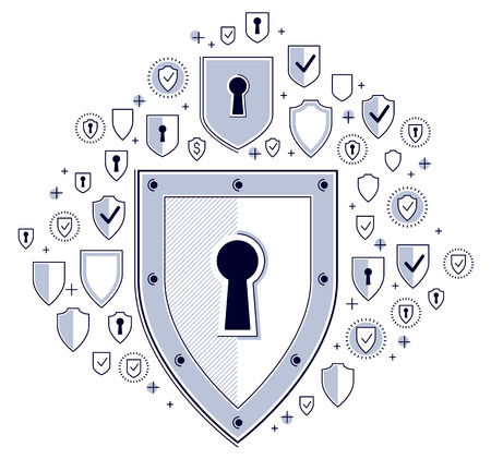 Shield and set of icons, internet security concept, antivirus or firewall, finance protection, vector flat thin line design, elements can be used separately.