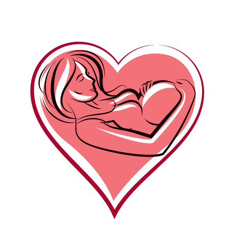 Beautiful pregnant female body silhouette surrounded by heart shape frame.  Mother-to-be drawn vector illustration. Happiness and caring theme. Illustration