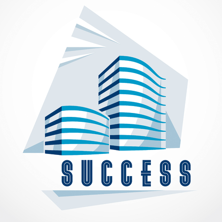 Business building, modern architecture vector illustration. Real estate realty office center design. 3D futuristic facade in big city. Can be used as a logo or icon.