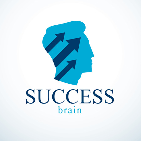Successful man vector logo or icon design. Man head profile with arrows moving up. Businessman or entrepreneur concept.
