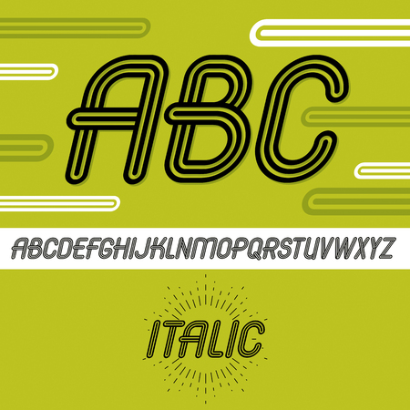 Vector cool capital alphabet letters, abc collection. Retro italic type font, script from a to z best for use in logotype creation. Made with triple stripy decoration.