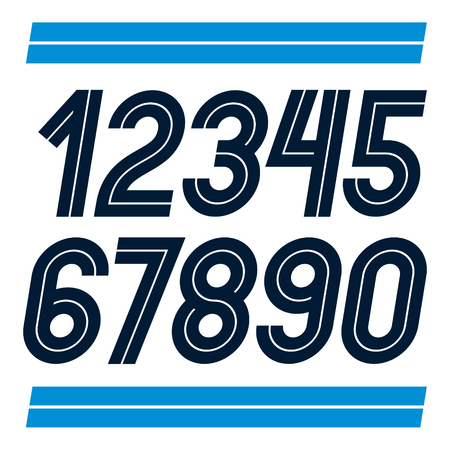 Set of vector rounded numerals made with white lines, can be used as business logo design elements