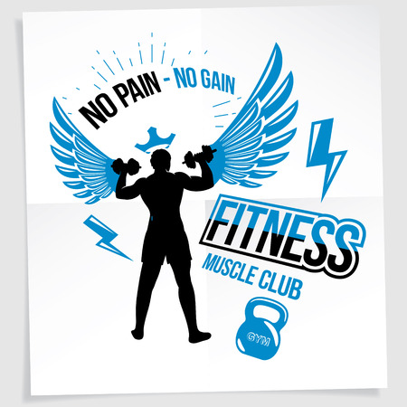 Heavy load power lifting championship advertising poster created with vector illustration of athletic sportsman holding fitness dumbbells sport equipment. No pain, no gain lettering.