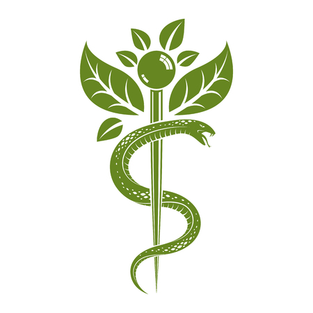 Aesculapius vector abstract illustration created using snakes and green leaves, Caduceus symbol. Healthy lifestyle is strong heart.
