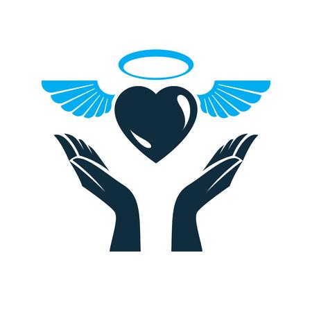 Illustration vectorielle de coeur, symbole de métaphore de l'amour et de la liberté. Emblème abstrait de vecteur ange gardien.