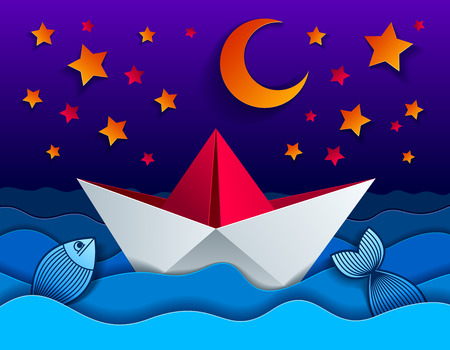 Origami paper ship toy swimming in the night with moon and stars, curvy waves of the sea,beautiful vector illustration in paper cut style. Illustration