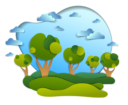 Scenic landscape of meadows and trees, cloudy sky, summer fields and grasslands vector illustration in paper cut kids style. Summer holidays in countryside, travel and tourism.
