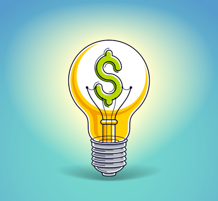 Light bulb concept with dollar sign instead of tungsten wire, financial idea for business, beautiful vector illustration.