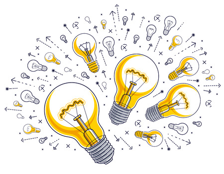 Shining light bulb and set of lightbulb icons, ideas creative concept, brainstorm allegory, vector illustration. Ilustração