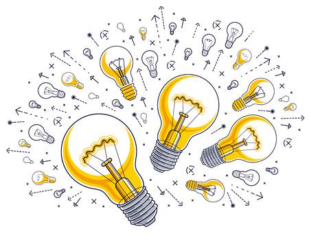 Shining light bulb and set of lightbulb icons, ideas creative concept, brainstorm allegory, vector illustration. Illustration